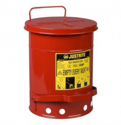 JUSTRITE 09100 Oily Waste Can,6 Gal.,Steel,Red