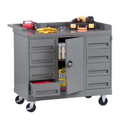Superb Tennsco 48 W X 25 D Steel Mobile Workbench With 8 Drawers And Cabinet 1000 Lb Capacity Lamtechconsult Wood Chair Design Ideas Lamtechconsultcom