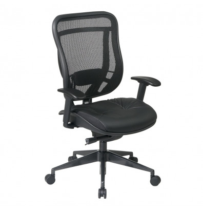 Office Star Space Seating Multifunction 300 Lb Mesh Back Leather High Back Executive Chair
