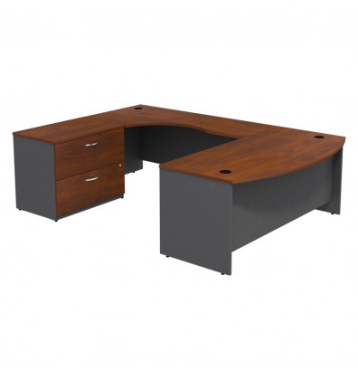 Bush Business Furniture Series C U Shaped Bow Front Office Desk With Lateral File Left