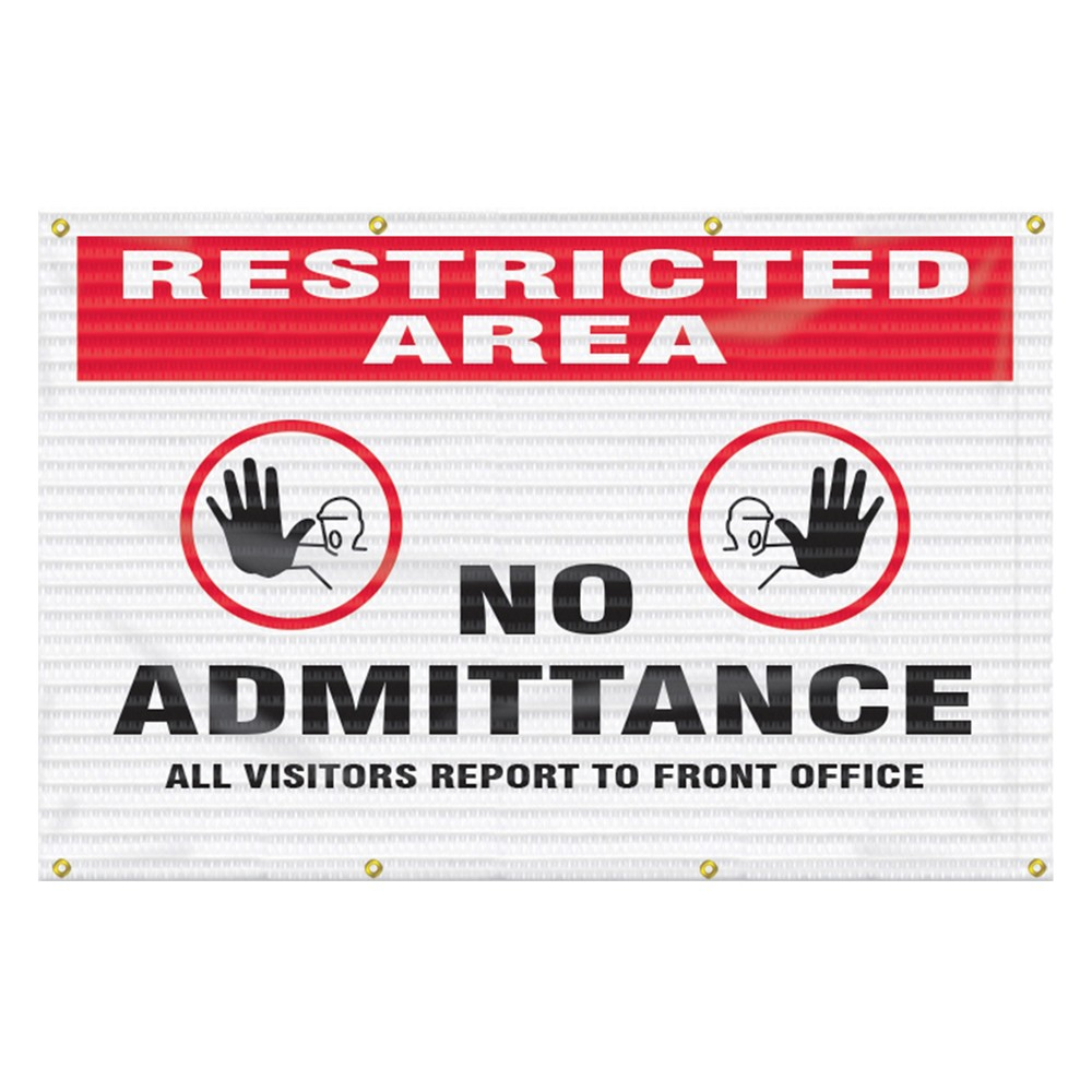 Accuform 5 x 8 Restricted Area Fence Wrap Safety Sign