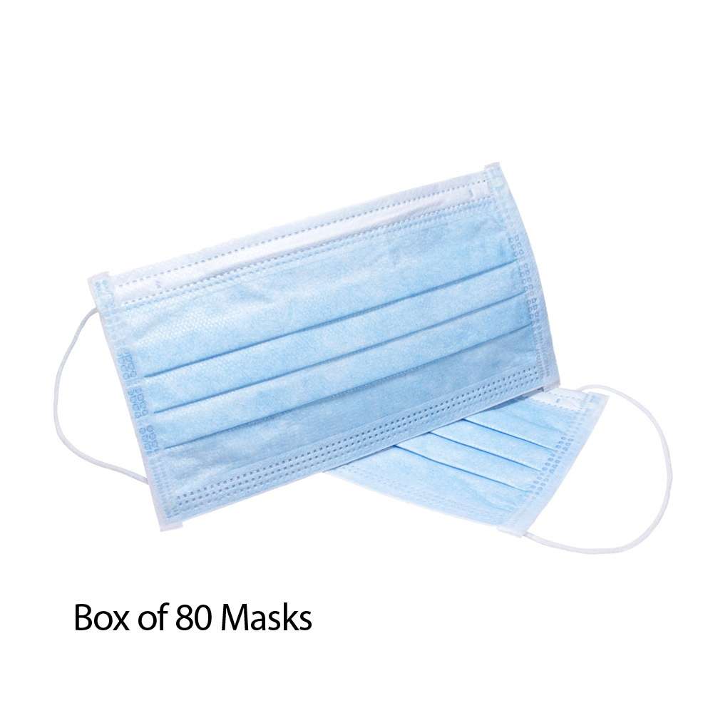 3 Ply Disposable Face Mask with Ear Loops 80 Pack