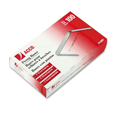 Acco 2 Length 2 Base Prong Paper File Fasteners 100Box