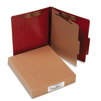Acco 4 Section Letter Presstex 20 Point Classification Folders Red 10Box