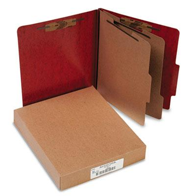 Acco 6 Section Letter Presstex 20 Point Classification Folders Red 10Box