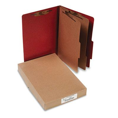 Acco 6 Section Legal Pressboard 25 Point Classification Folders Earth Red 10Box