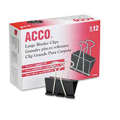 Acco 1 116 Capacity Steel Wire Large Binder Clips 12Box