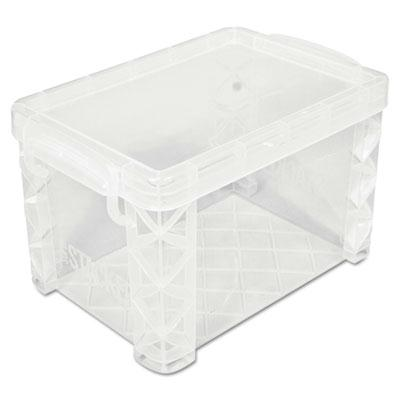 Advantus Super Stacker Plastic Storage Boxes Holds 500 4 x 6 Cards Clear