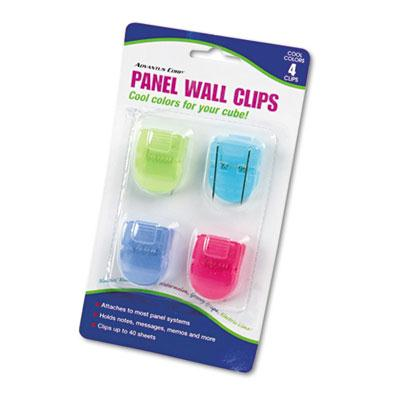 Advantus Standard Size Fabric Panel Wall Clips Assorted Cool Colors 4Pack