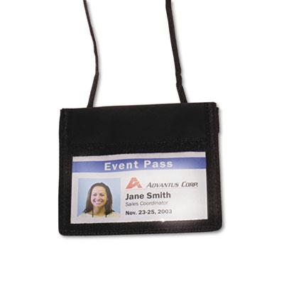 Advantus 4 34 x 4 18 Horizontal ID Badge Holder with Convention Neck Pouch Black 12Pack