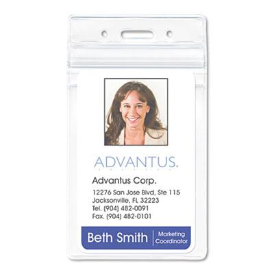 Advantus 2 58 x 3 34 Vertical Resealable ID Badge Holder Clear 50Pack