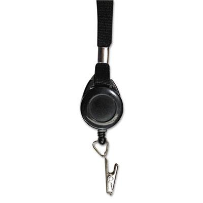Advantus 36 Clip Lanyards with Retractable ID Reels Black 12Pack