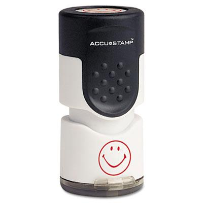 Accustamp Smiley Pre Inked Round Stamp with Microban Red Ink 58