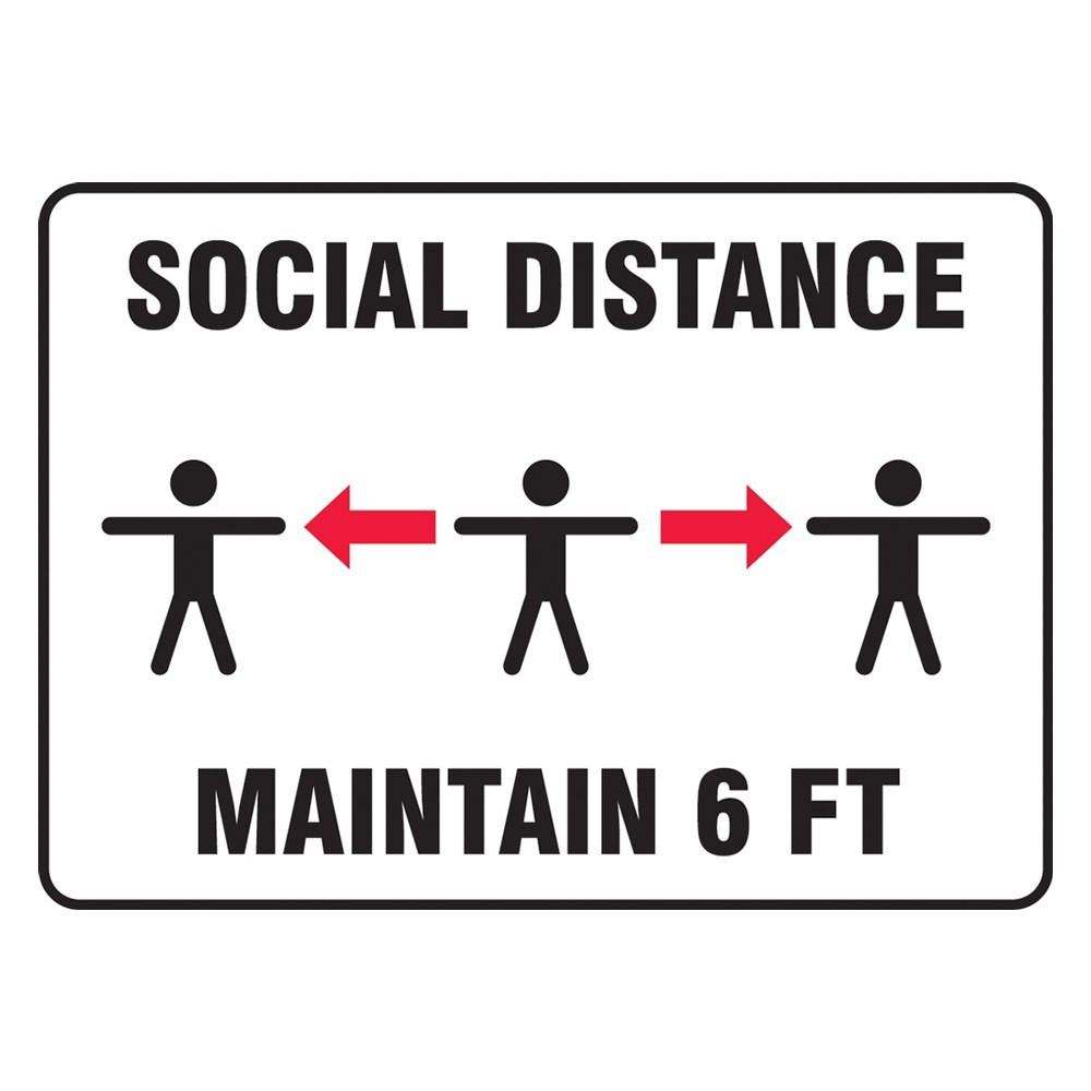 Accuform 7 x 10 Adhesive Vinyl Social Distancing Safety Sign