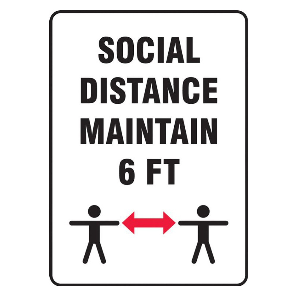 Accuform 14 x 10 Aluminum Maintain Social Distance Safety Poster