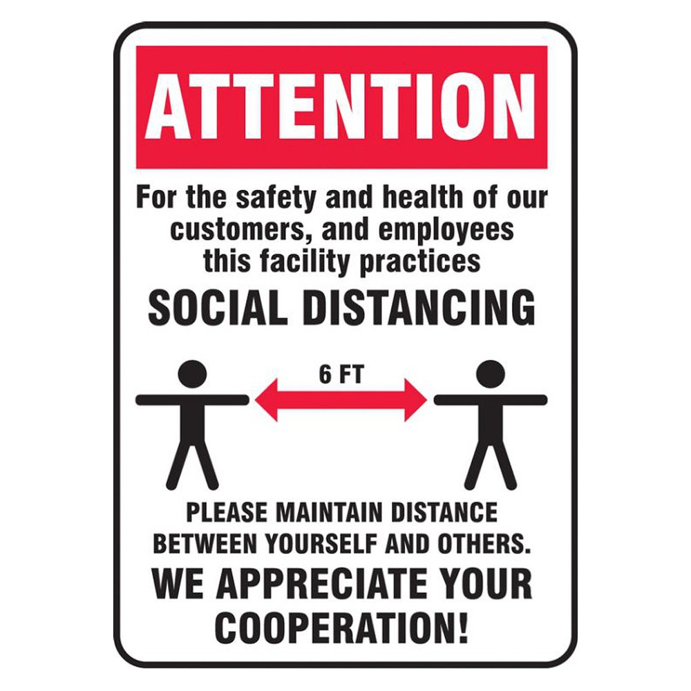 Accuform 7 x 10 Adhesive Vinyl Maintain Social Distance Safety Sign