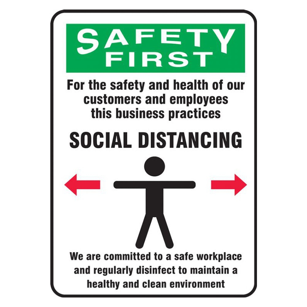Accuform 7 x 10 Adhesive Vinyl Green Practice Social Distance Safety Sign