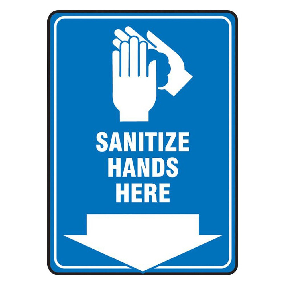 Accuform 10 x 7 Adhesive Vinyl Sanitize Hands Here Safety Poster