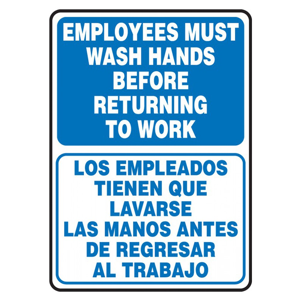 Accuform 14 x 10 Adhesive Vinyl Bilingual Employees Must Wash Hands Safety Poster