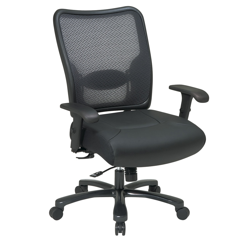 Office Star Space Seating Big Tall 400 Lb Double Airgrid Mesh Back Layered Leather Mid Back Office Chair