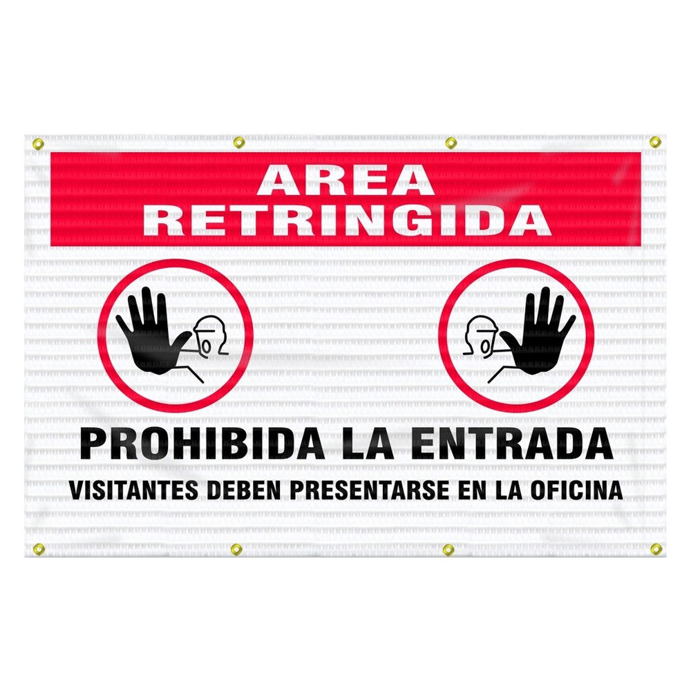 Accuform 5 x 6 Spanish Restricted Area Fence Wrap Safety Sign