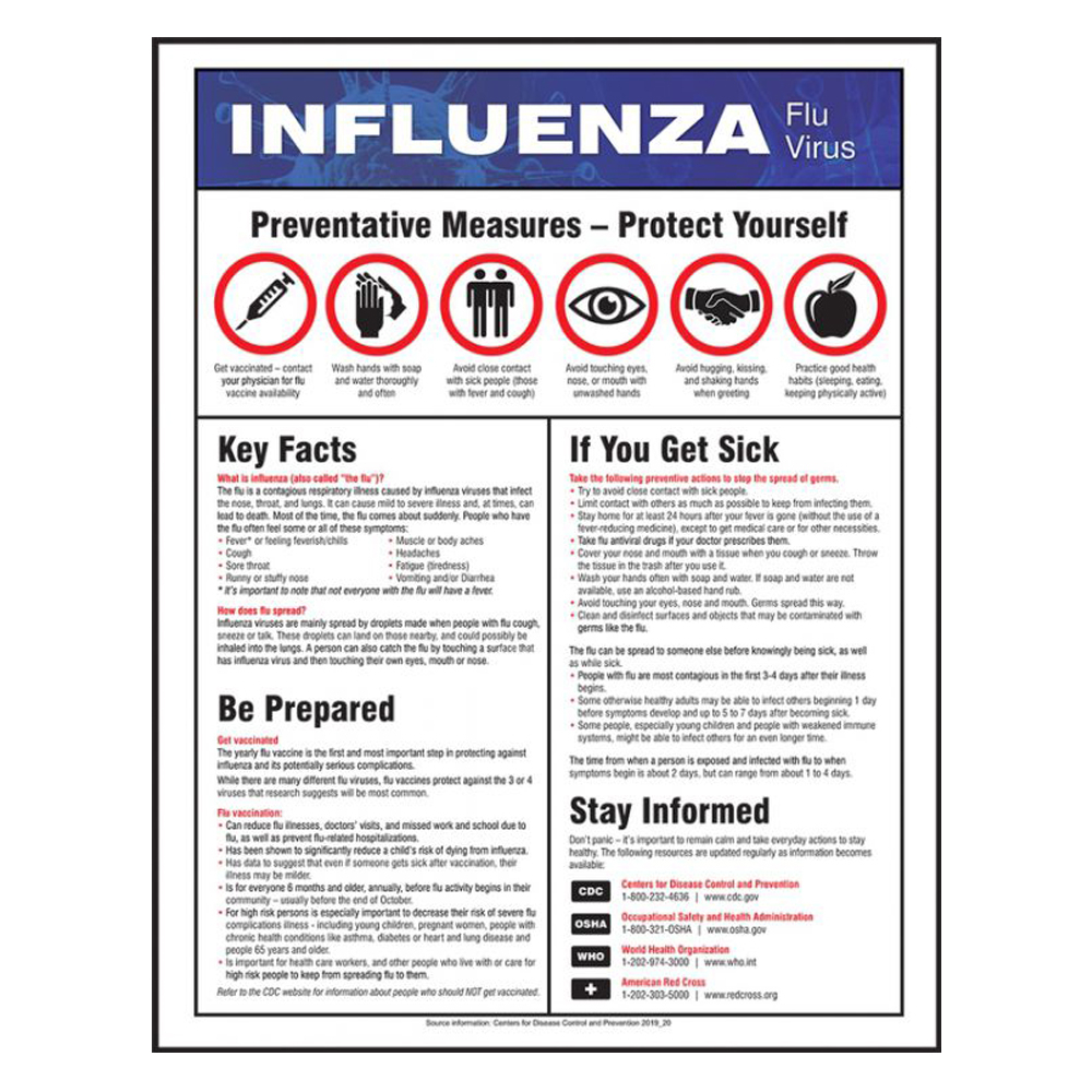 Accuform 22 x 17 Laminated Influenza Safety Sign
