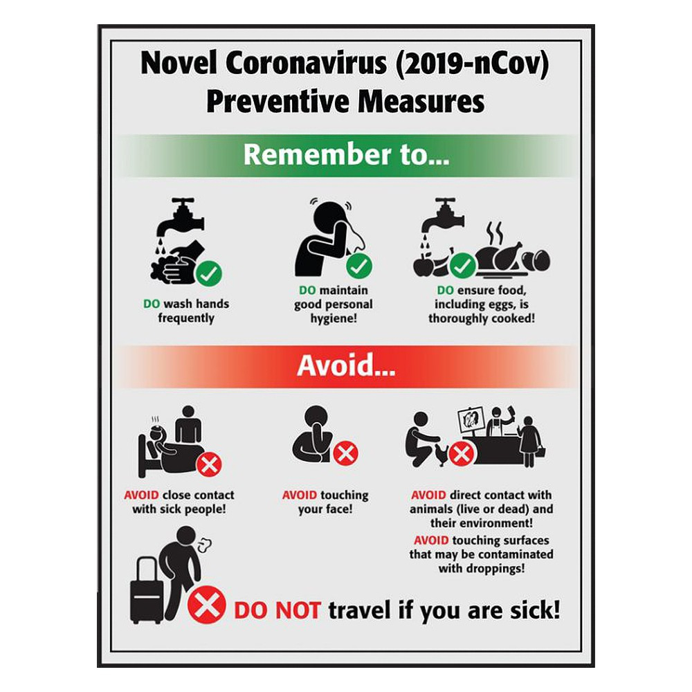 Accuform 22 x 17 Laminated Coronavirus Prevention Safety Sign