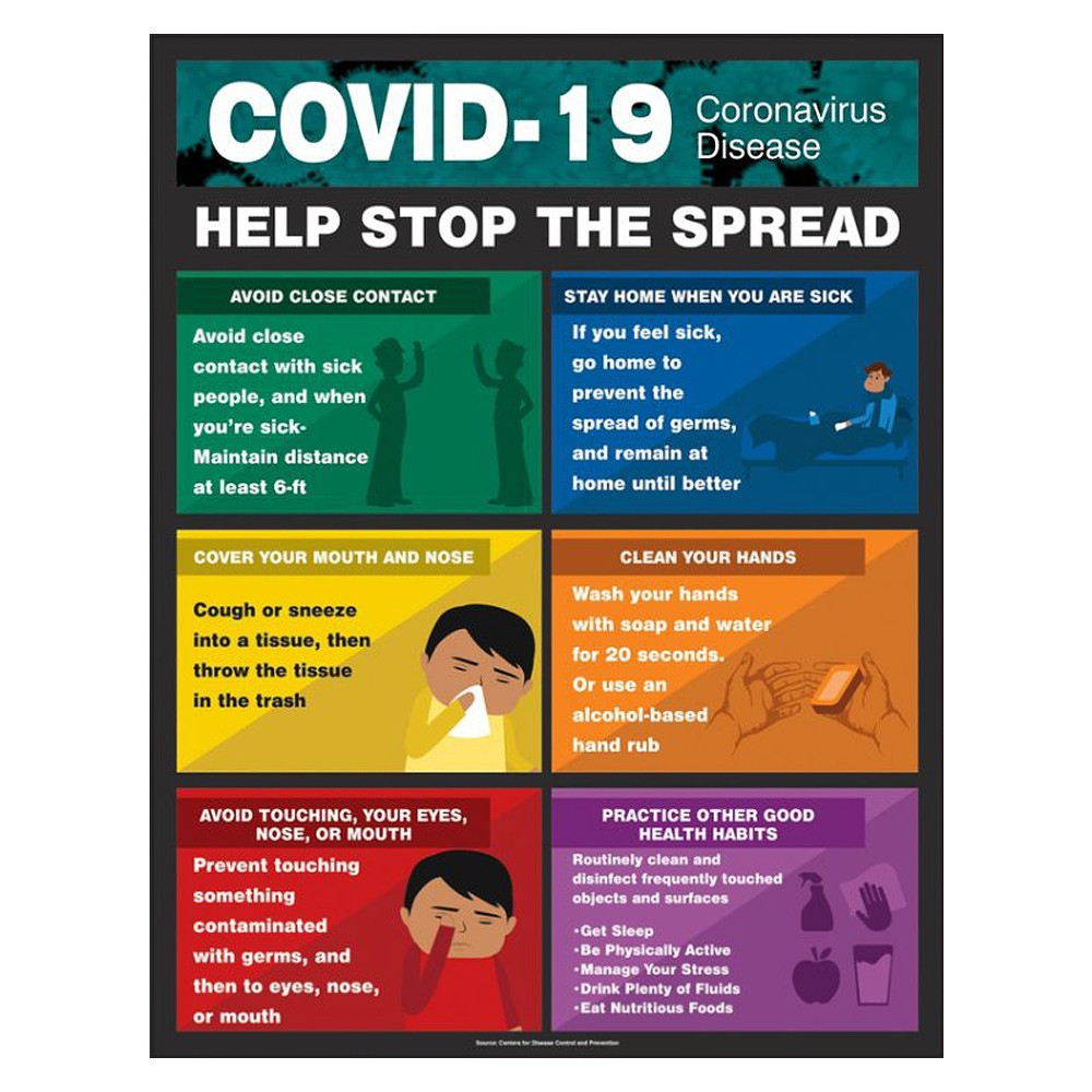 Accuform 22 x 17 COVID 19 Stop the Spread Safety Poster
