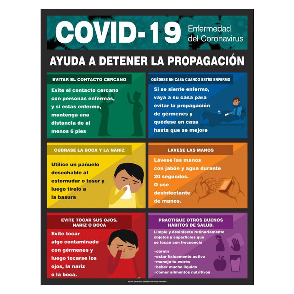 Accuform 22 x 17 COVID 19 Spanish Stop the Spread Safety Poster